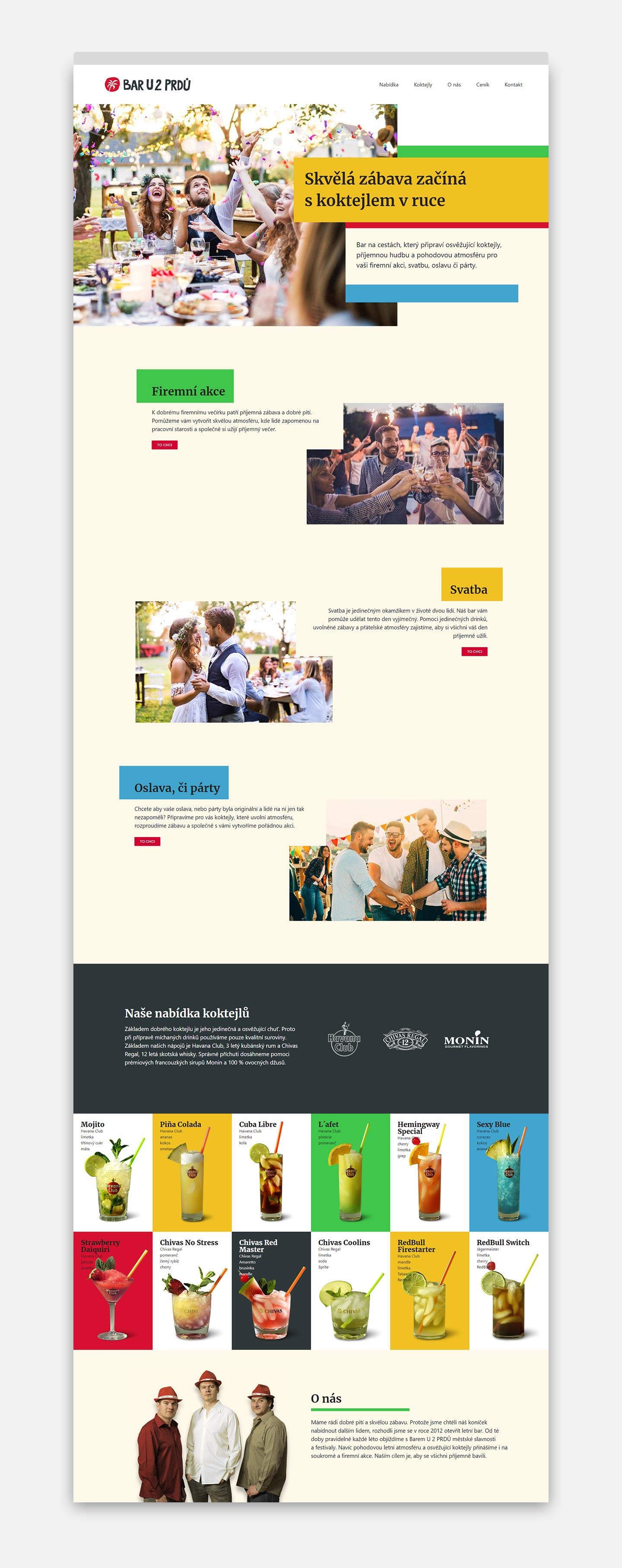 Bar U 2 PRDŮ - náhled webových stránek