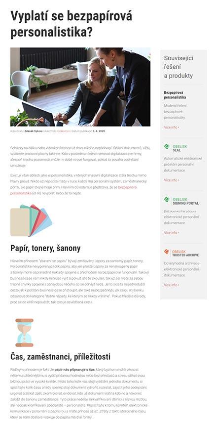 URVIHO - redesign www stránek - Článek
