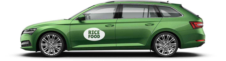 URVIHO - portfolio - návrh loga RICEFOOD na autě