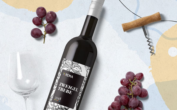 Firemní etiketa na víno s pozadím