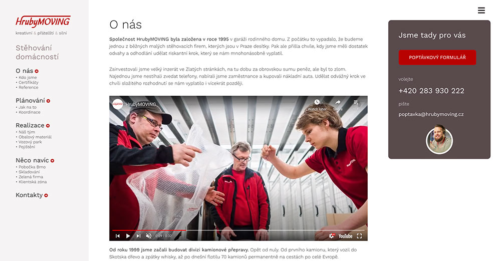Tvorba www stránek - HrubyMOVING sekce Stěhování