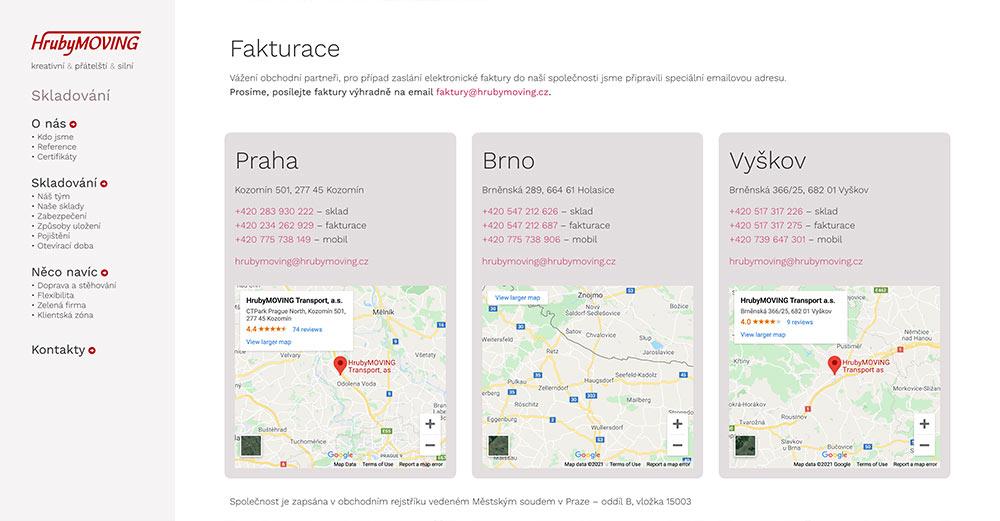 Tvorba www stránek - HrubyMOVING sekce Skladování