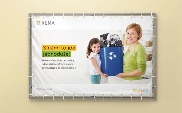 Návrh reklamního banneru pro společnost REMA - matka s holčičkou třídící elektoodpad