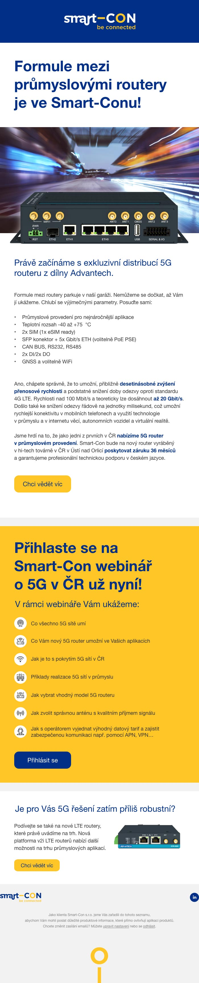 Marketingová kampaň na uvedení super rychlého 5G routeru - náhled newsletteru