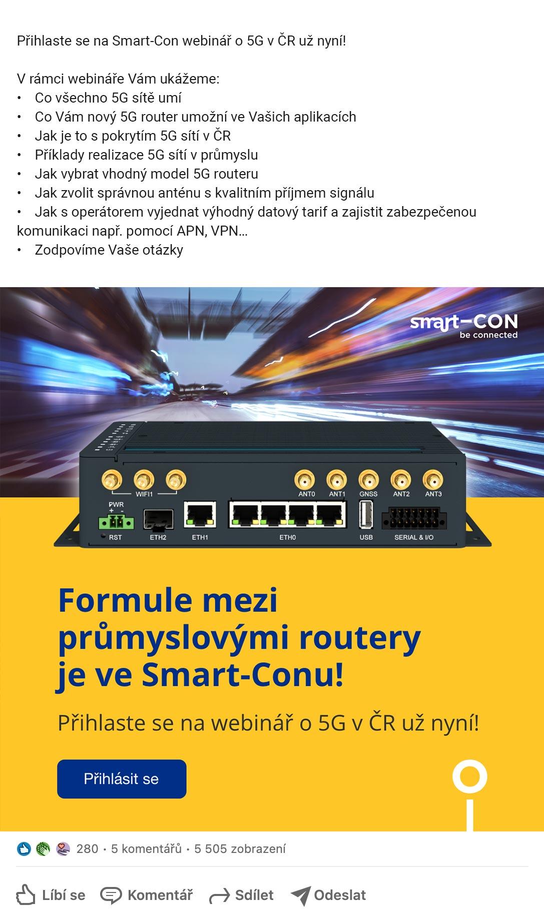 Marketingová kampaň na uvedení super rychlého 5G routeru - banner na LinkedIn